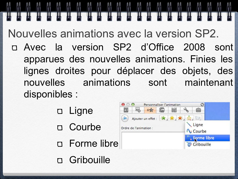 Nouvelles animations avec la version SP2.