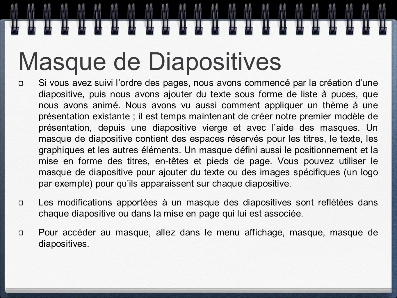 Masque de Diapositives