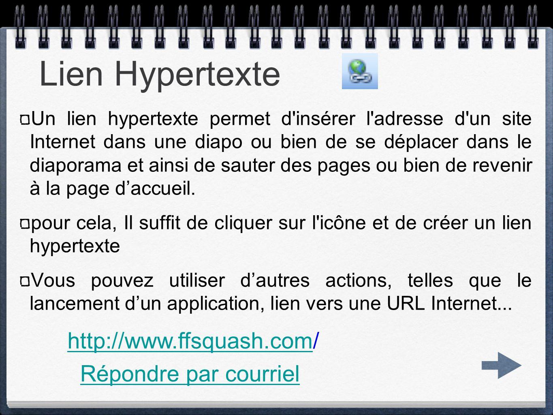 Lien Hypertexte http://www.ffsquash.com/ Répondre par courriel