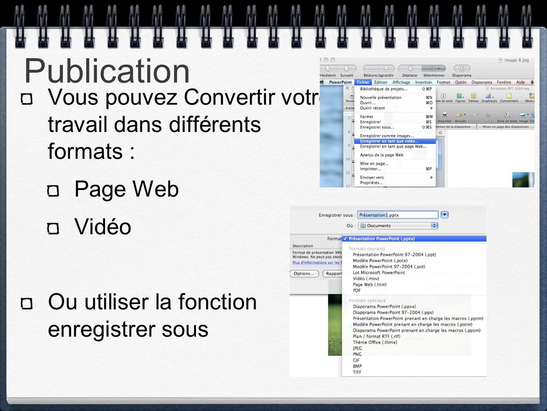 Publication Vous pouvez Convertir votre travail dans différents formats :