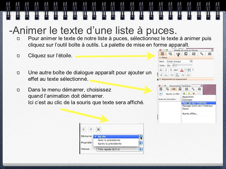 -Animer le texte d'une liste à puces.