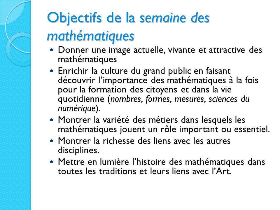 Objectifs de la semaine des mathématiques