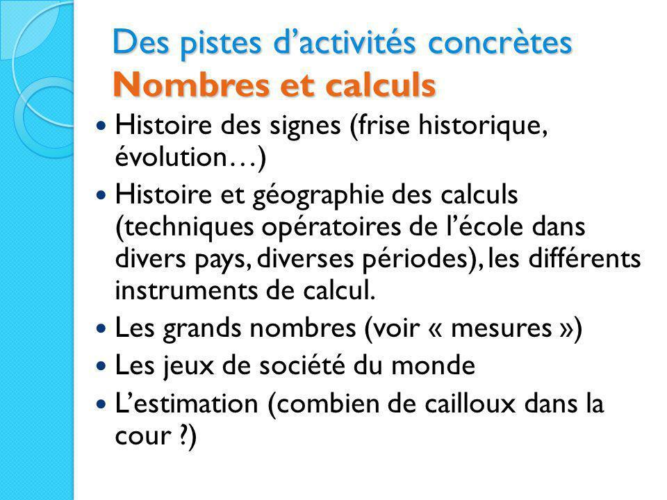 Des pistes d'activités concrètes Nombres et calculs