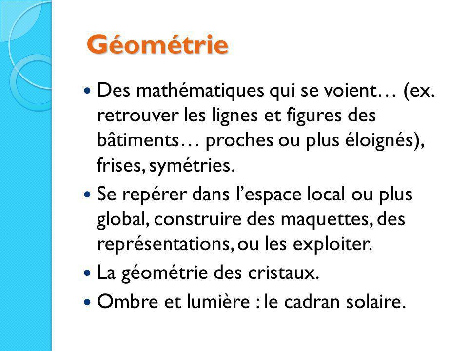 Géométrie Des mathématiques qui se voient… (ex. retrouver les lignes et figures des bâtiments… proches ou plus éloignés), frises, symétries.