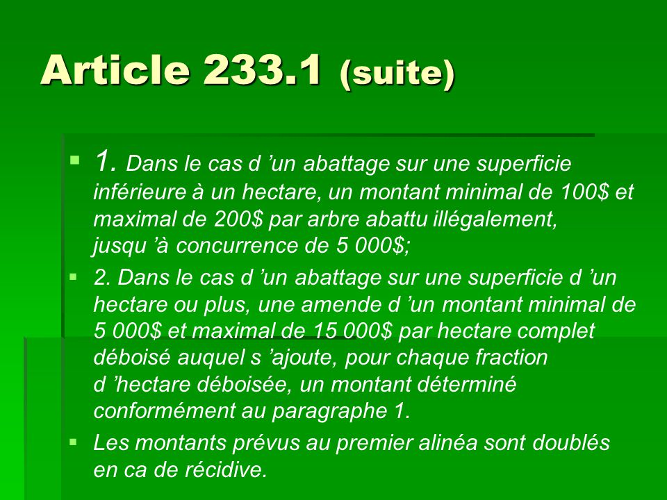 Article 233.1 (suite)