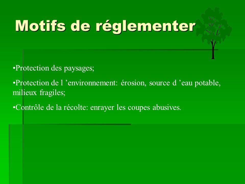 Motifs de réglementer Protection des paysages;