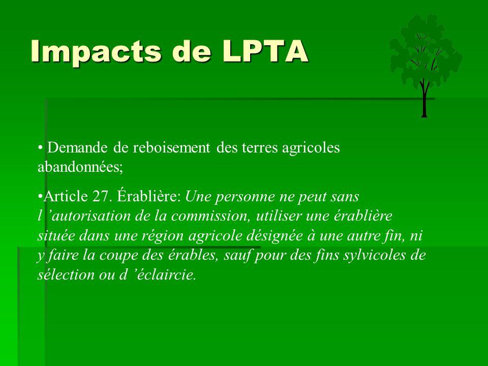 Impacts de LPTA Demande de reboisement des terres agricoles abandonnées;