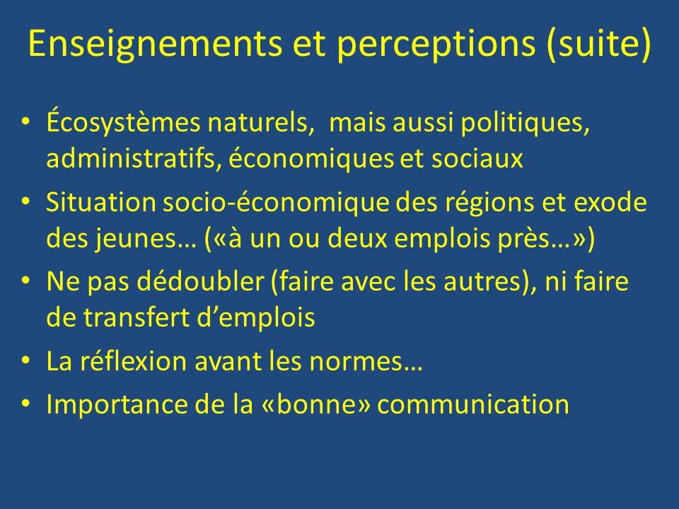 Enseignements et perceptions (suite)