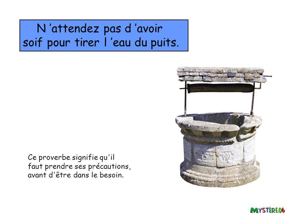 N 'attendez pas d 'avoir soif pour tirer l 'eau du puits.
