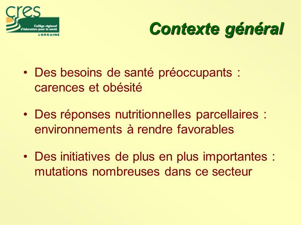Contexte général Des besoins de santé préoccupants : carences et obésité.