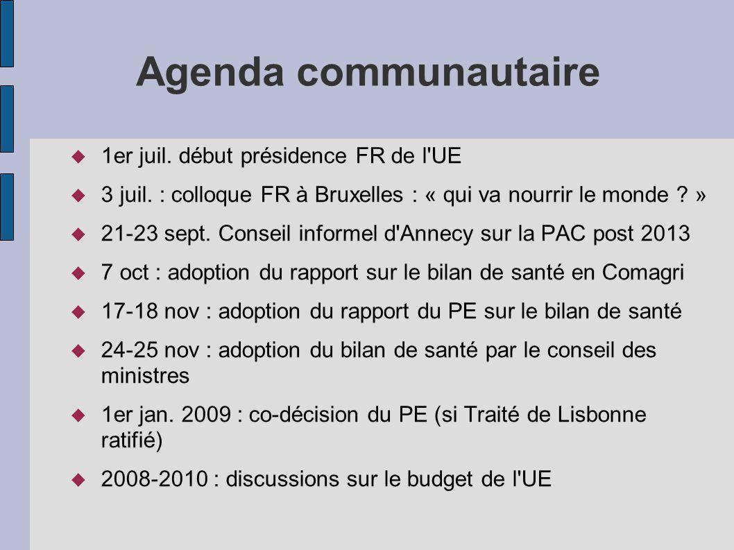 Agenda communautaire 1er juil. début présidence FR de l UE