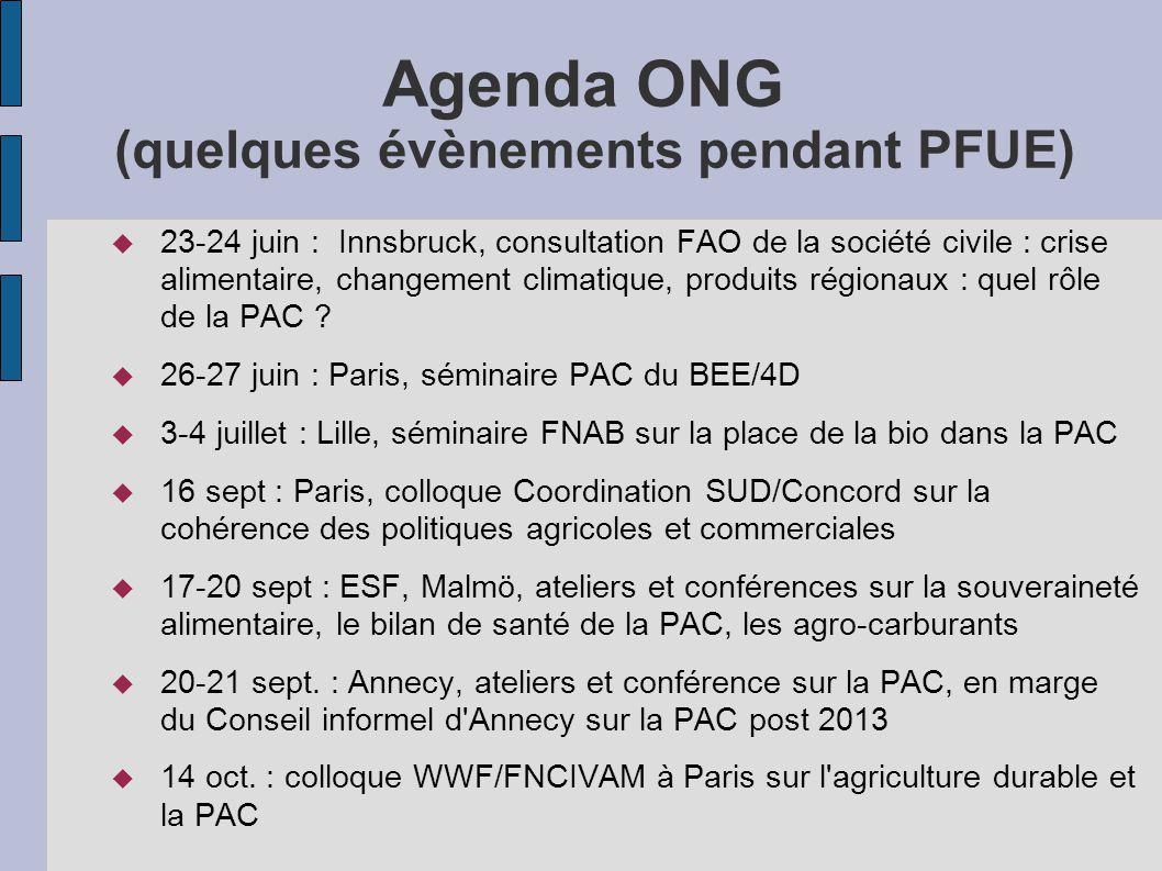Agenda ONG (quelques évènements pendant PFUE)