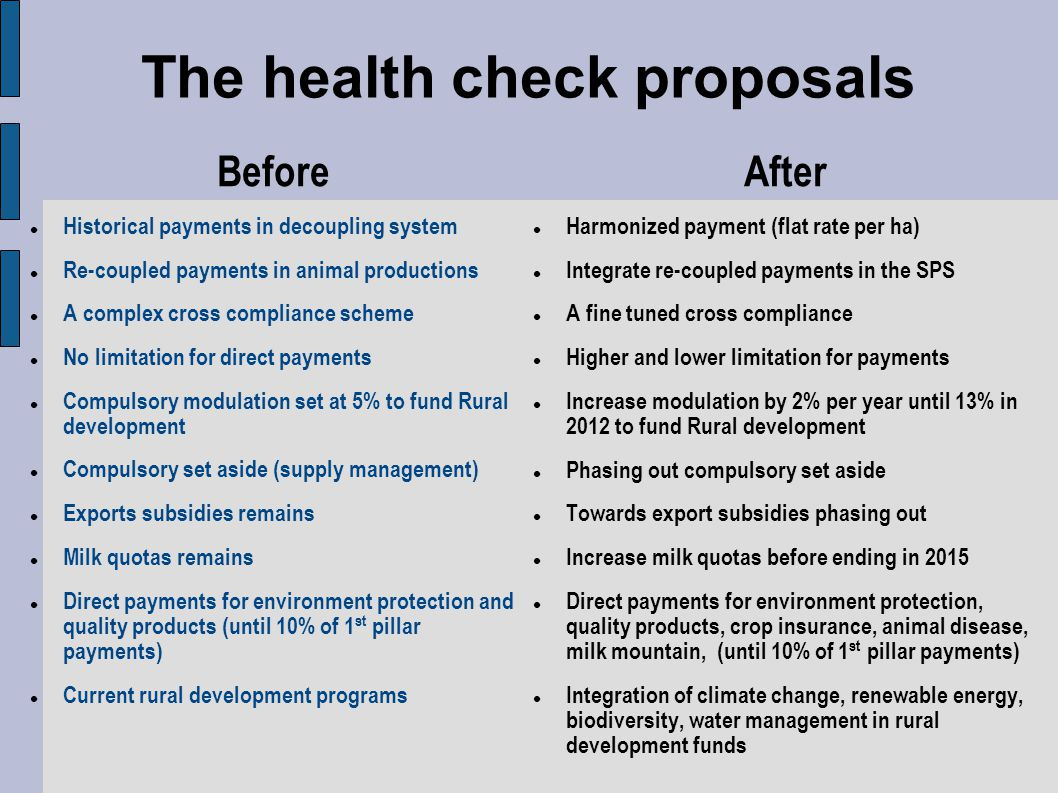 The health check proposals
