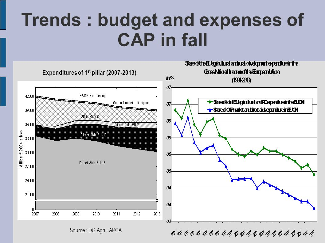 Trends : budget and expenses of CAP in fall