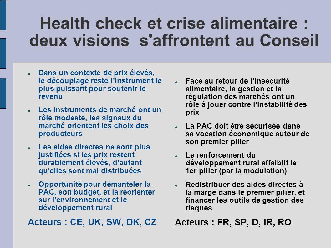 Health check et crise alimentaire : deux visions s affrontent au Conseil