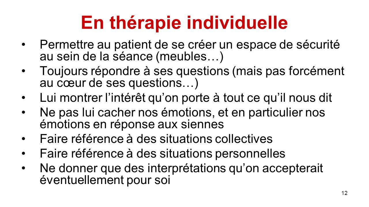 En thérapie individuelle