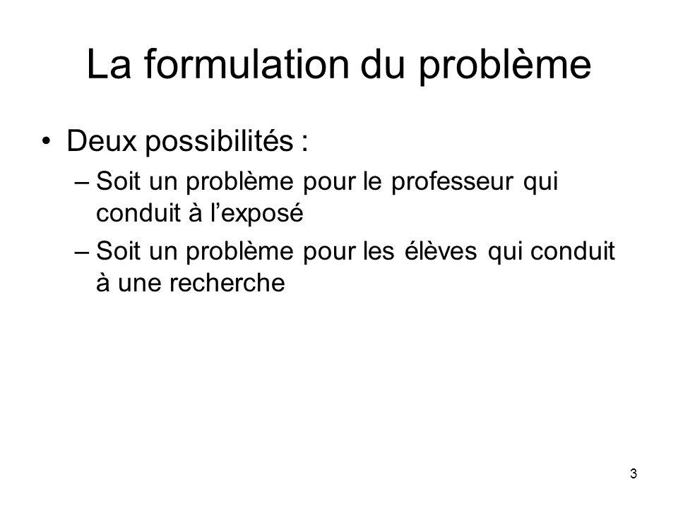 La formulation du problème
