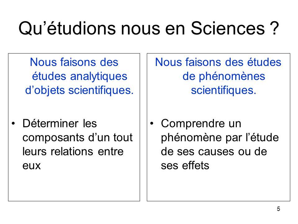 Qu'étudions nous en Sciences