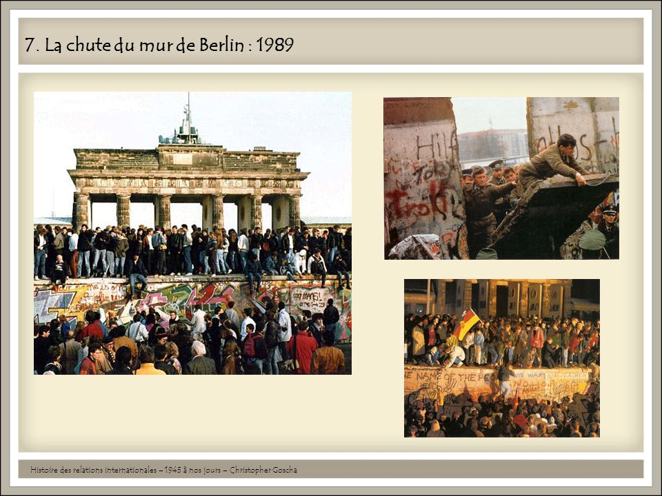 7. La chute du mur de Berlin : 1989
