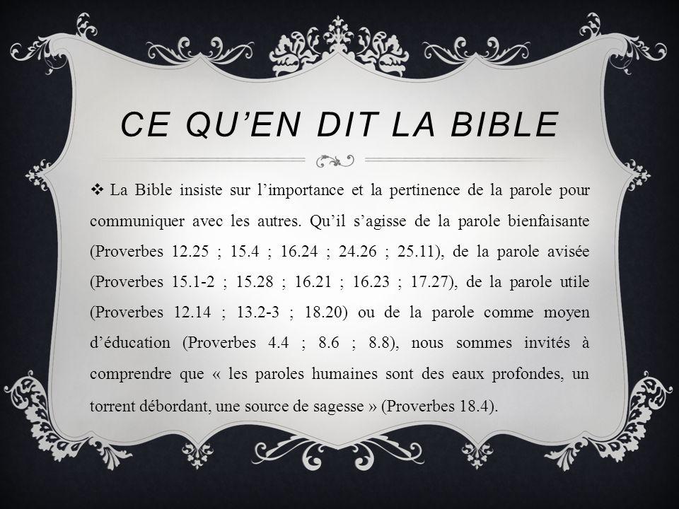 Ce qu'en dit la bible