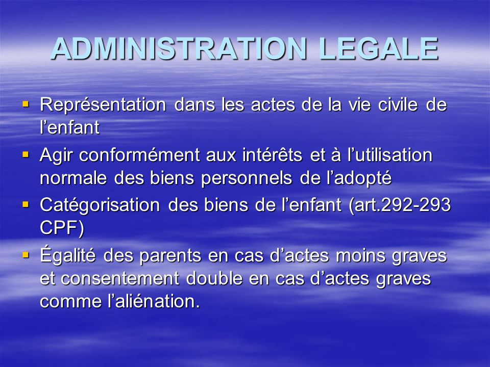 ADMINISTRATION LEGALE