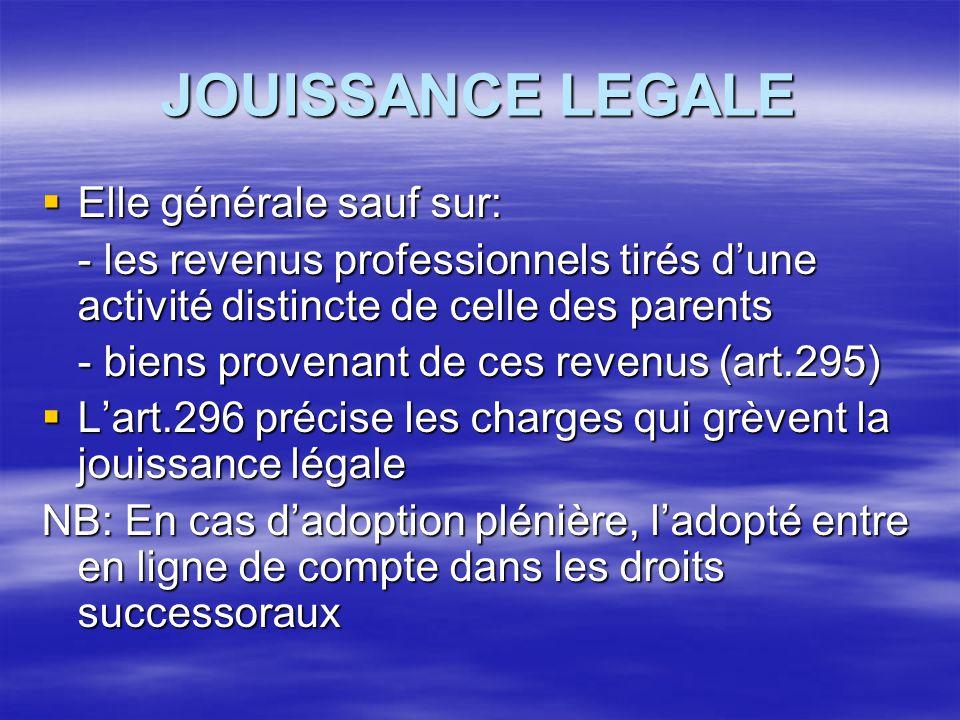 JOUISSANCE LEGALE Elle générale sauf sur: