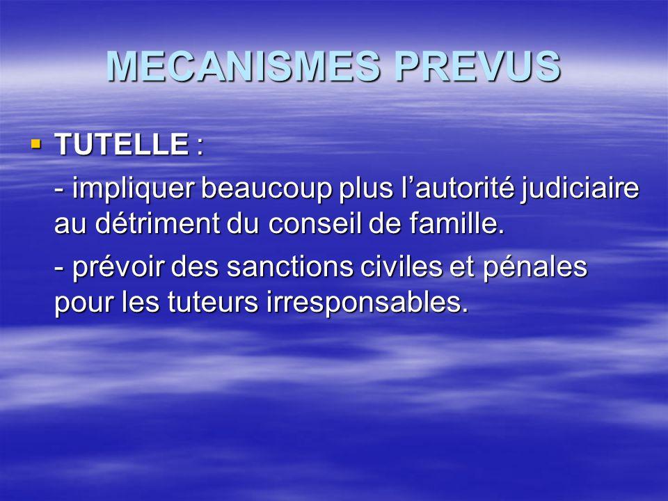 MECANISMES PREVUS TUTELLE :