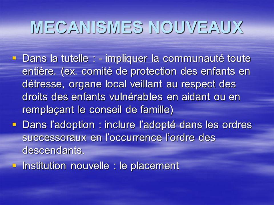 MECANISMES NOUVEAUX