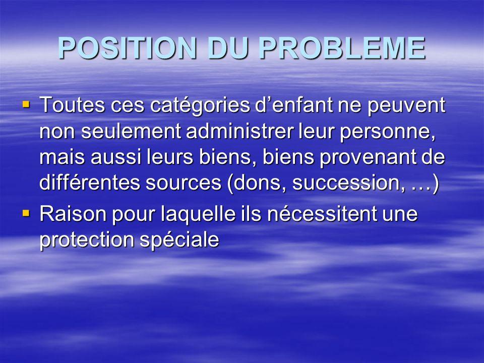 POSITION DU PROBLEME