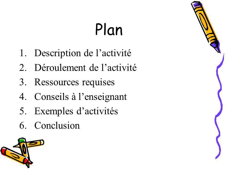 Plan Description de l'activité Déroulement de l'activité