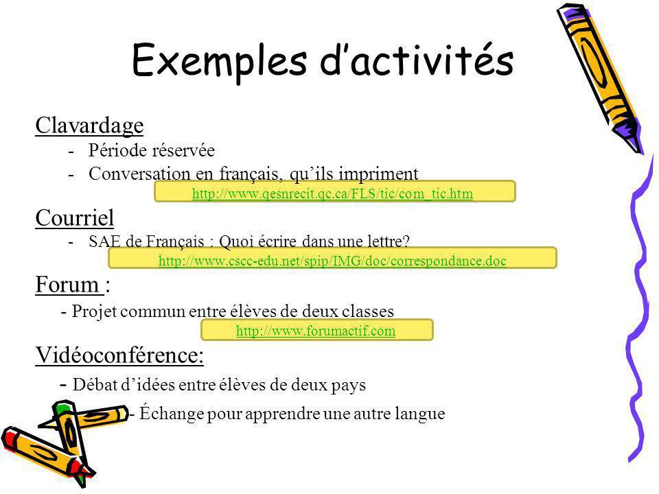 Exemples d'activités Clavardage Courriel Forum : Vidéoconférence: