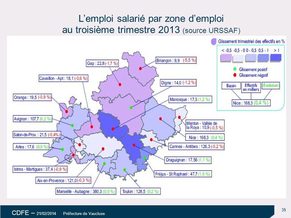 18/04/14 18/04/14. L'emploi salarié par zone d'emploi au troisième trimestre 2013 (source URSSAF)
