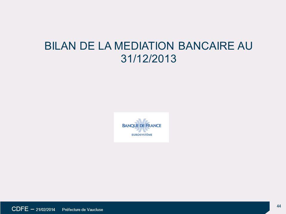 BILAN DE LA MEDIATION BANCAIRE AU 31/12/2013