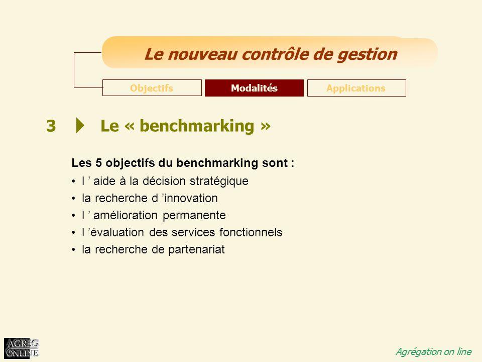 3 Le « benchmarking » Les 5 objectifs du benchmarking sont :