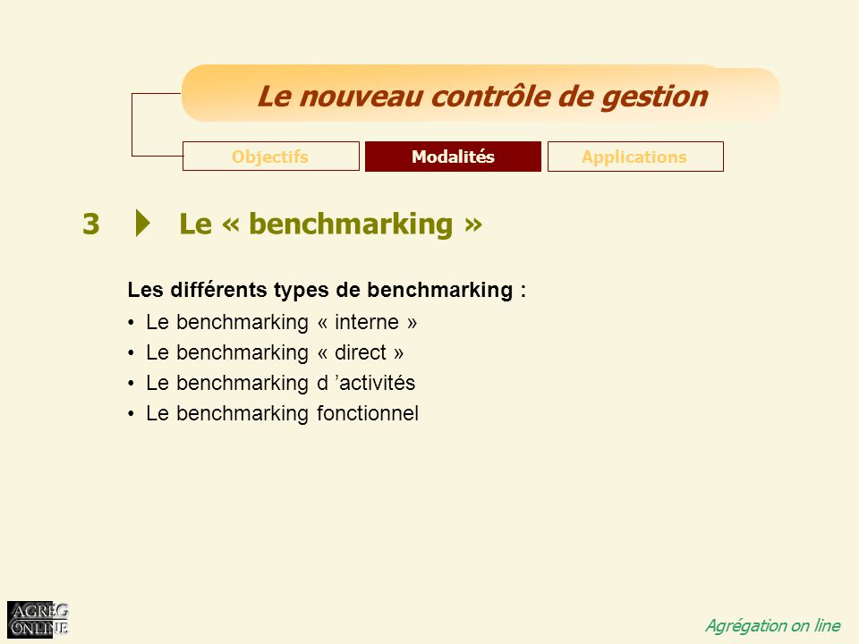 3 Le « benchmarking » Les différents types de benchmarking :