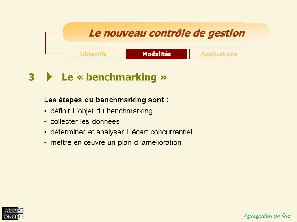 3 Le « benchmarking » Les étapes du benchmarking sont :