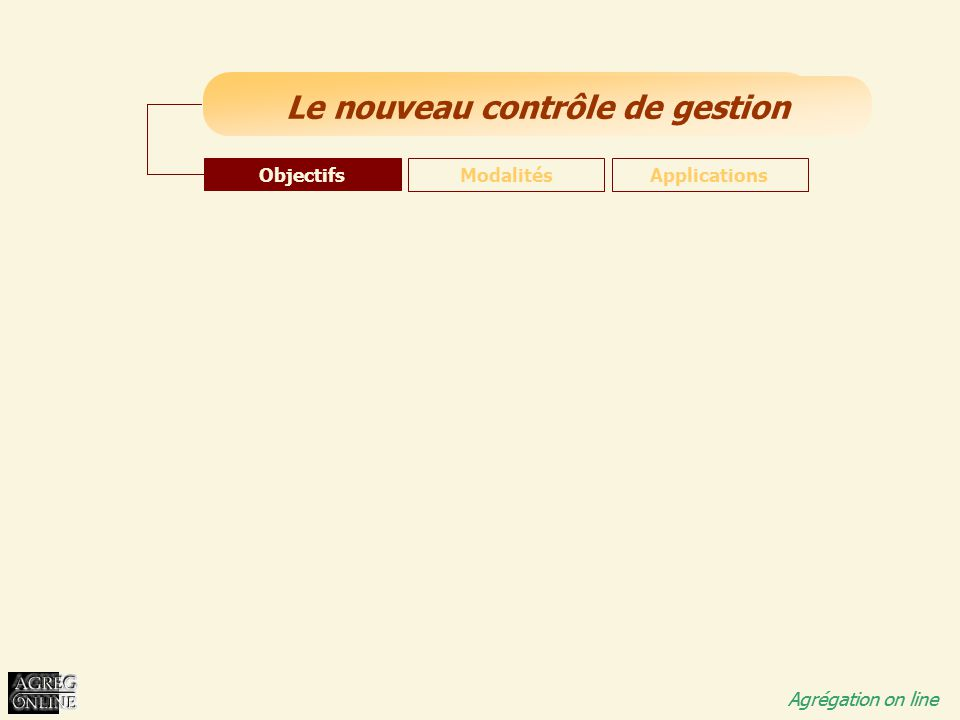 Objectifs Modalités Applications