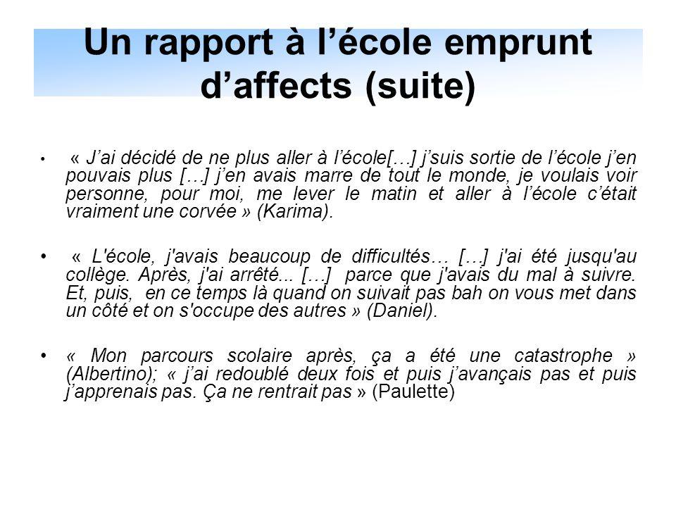 Un rapport à l'école emprunt d'affects (suite)