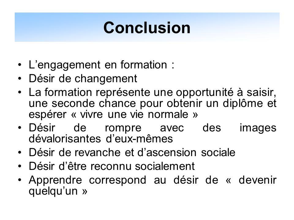 Conclusion L'engagement en formation : Désir de changement