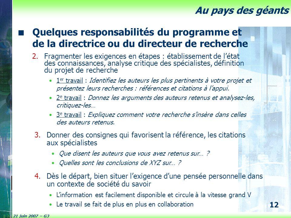 Quelques responsabilités du programme et de la directrice ou du directeur de recherche
