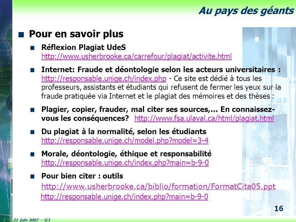 Pour en savoir plus Réflexion Plagiat UdeS http://www.usherbrooke.ca/carrefour/plagiat/activite.html.