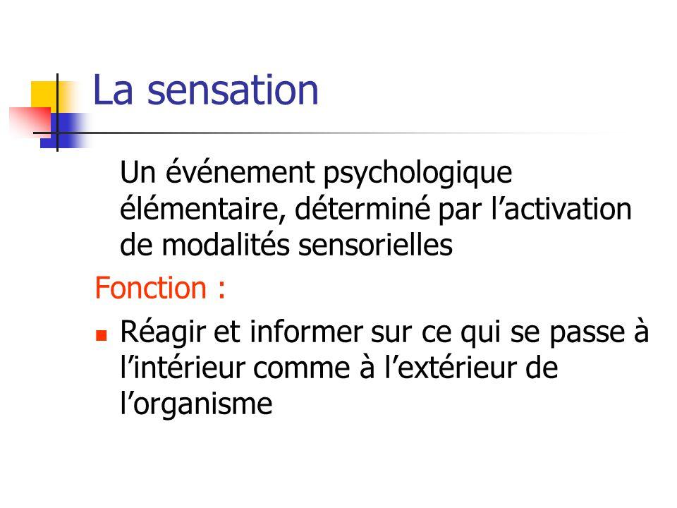 La sensation Un événement psychologique élémentaire, déterminé par l'activation de modalités sensorielles.