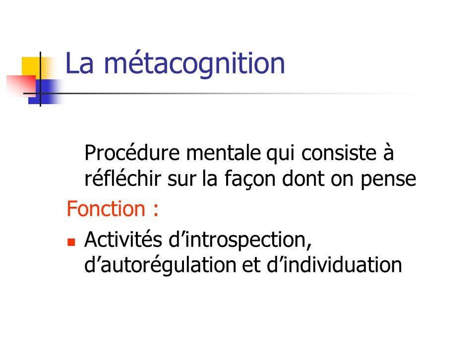 La métacognition Procédure mentale qui consiste à réfléchir sur la façon dont on pense. Fonction :