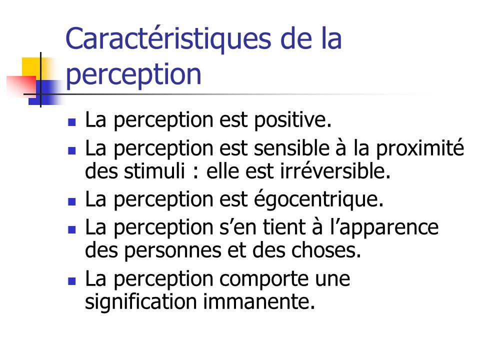 Caractéristiques de la perception