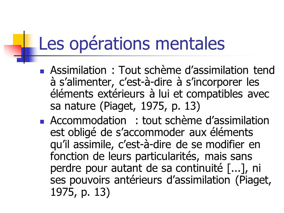 Les opérations mentales