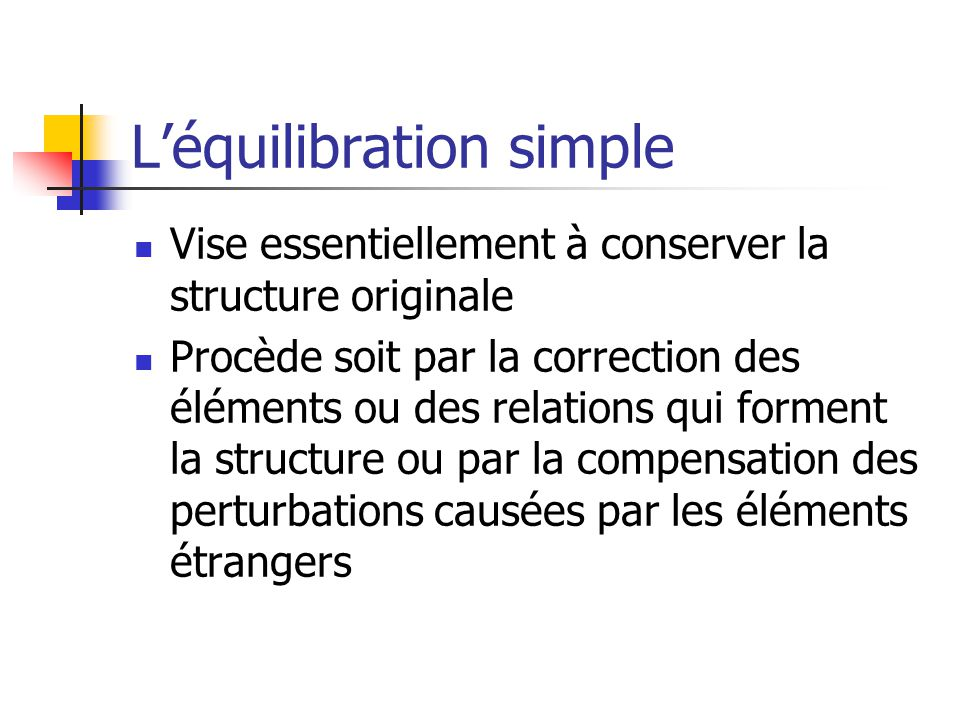 L'équilibration simple
