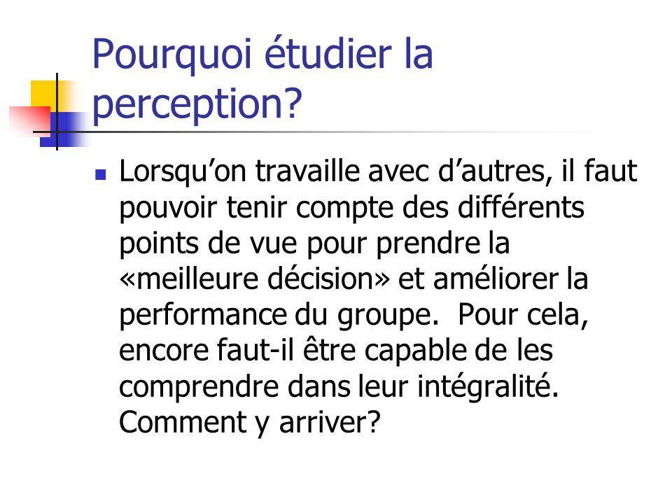 Pourquoi étudier la perception
