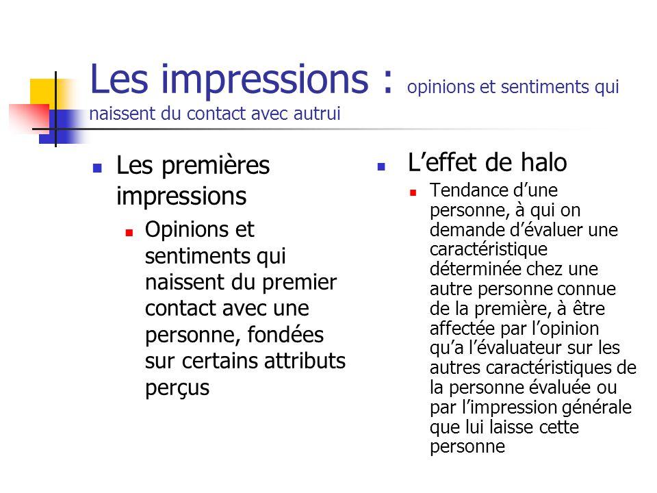 Les impressions : opinions et sentiments qui naissent du contact avec autrui
