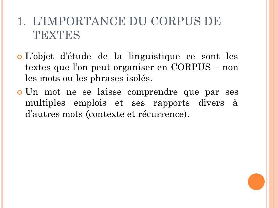 L'IMPORTANCE DU CORPUS DE TEXTES