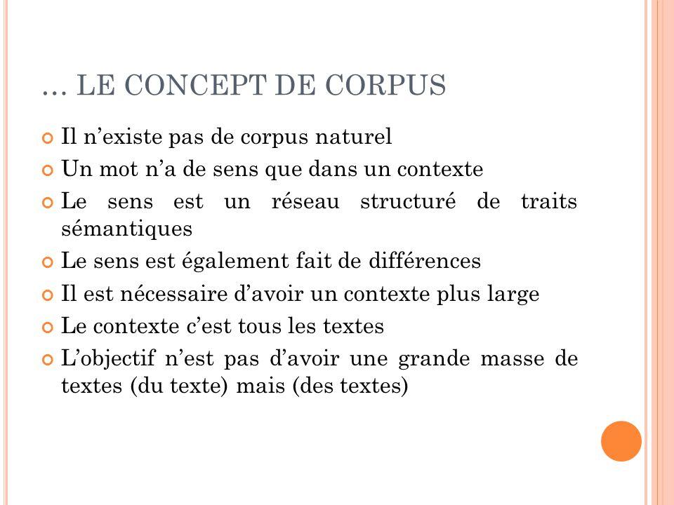 … LE CONCEPT DE CORPUS Il n'existe pas de corpus naturel